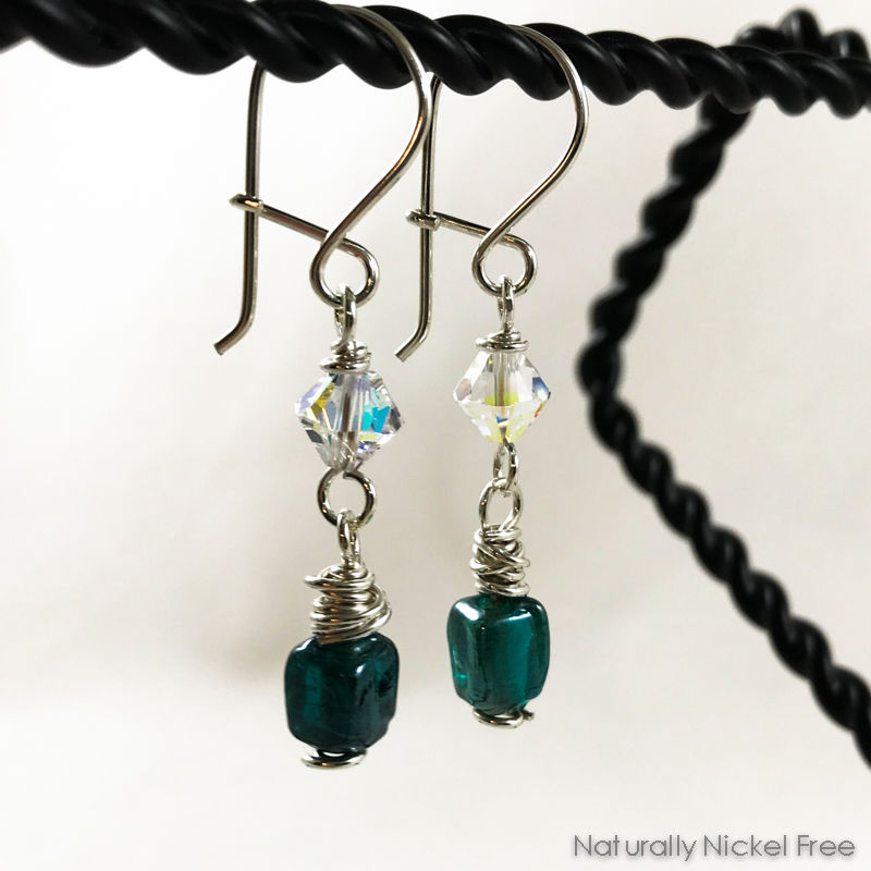 Blue-Green Glass Earrings with Clear Crystal Accent - product image