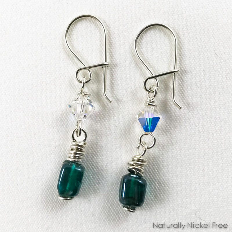 Blue-Green Glass Earrings with Clear Crystal Accent - product images  of