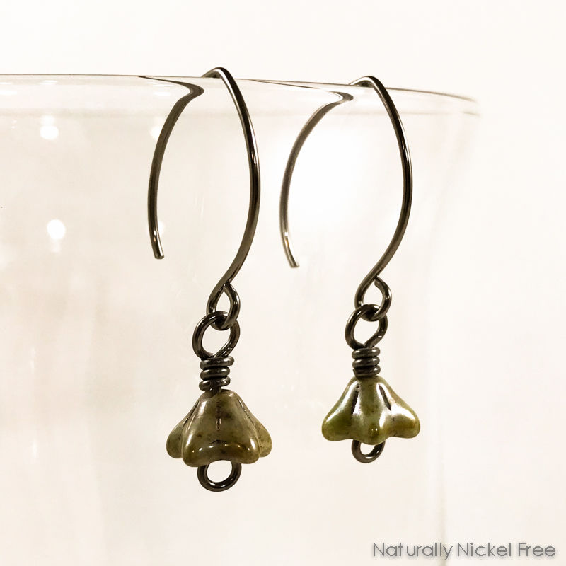Antique Green Blossom Drop Earrings - product images  of