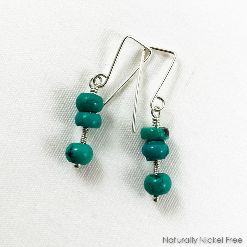 Turquoise Nugget Bead Silver Wirework Earrings - product image