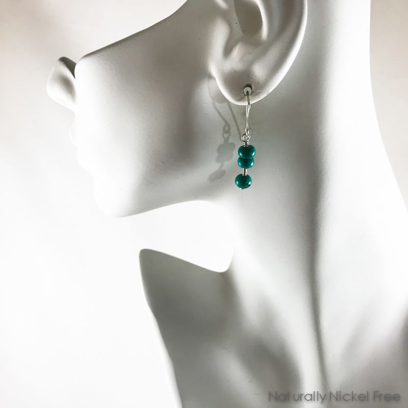 Turquoise Nugget Bead Silver Wirework Earrings - product images  of