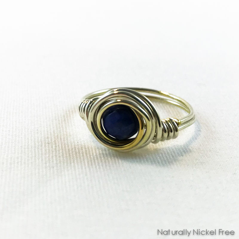Lapis Lazuli Argentium Silver Wire Wrapped Ring, size 8.5 - product images  of