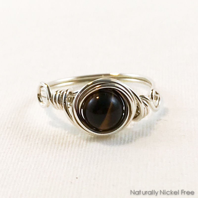 Tiger Eye Wire Wrapped Ring with Argentium Sterling Silver - product image