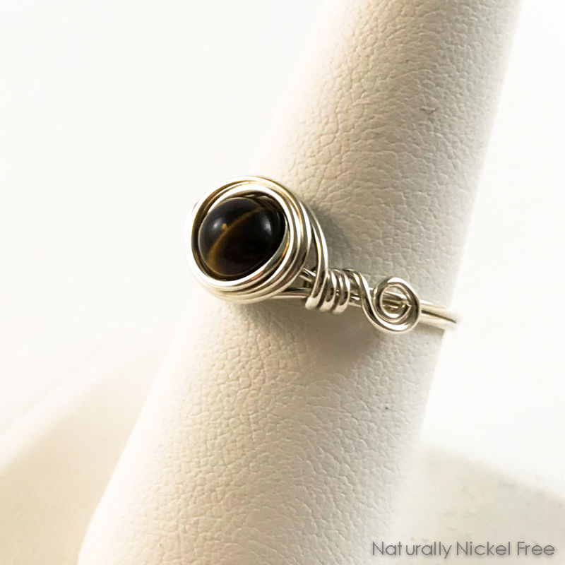 Tiger Eye Wire Wrapped Ring with Argentium Sterling Silver - product images  of