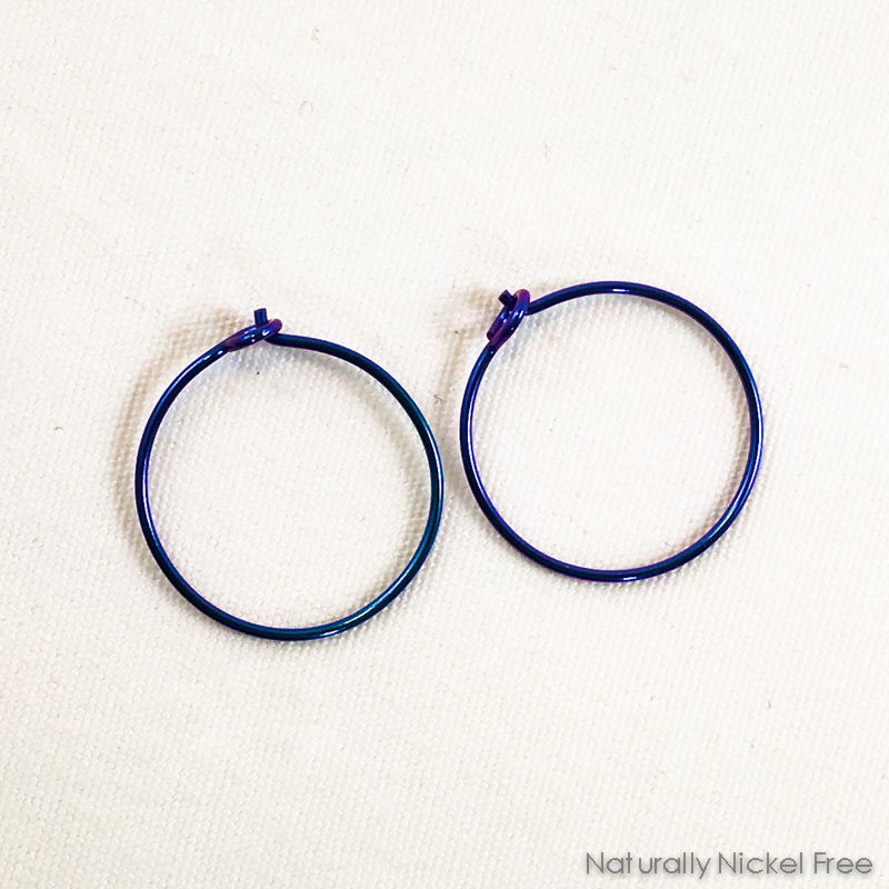 Niobium Hoop Earrings - Anodized Blurple - product image