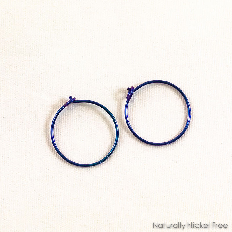 Niobium Hoop Earrings - Anodized Blurple - product images  of