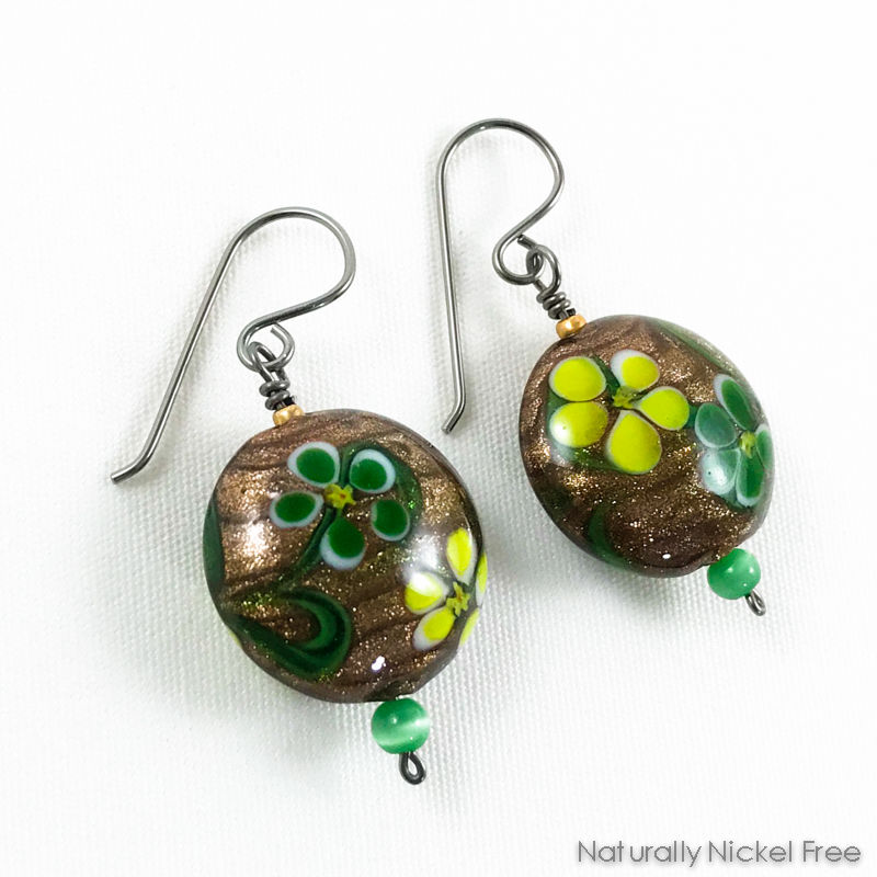 Whimsical Flower Glass Bead Earrings - product image