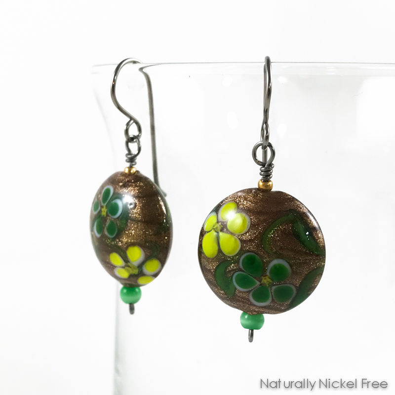 Whimsical Flower Glass Bead Earrings - product images  of