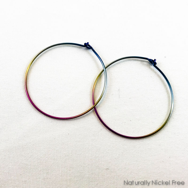Rainbow Niobium Hoop Earrings - Blue, Yellow & Pink Gradient - product image