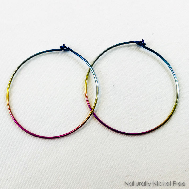 Rainbow Niobium Hoop Earrings - Blue, Yellow & Pink Gradient - product images  of
