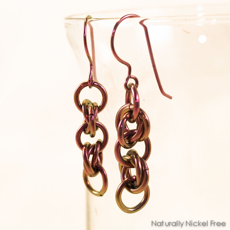 Anodized Niobium Chainmaille Dangle Earrings - product image