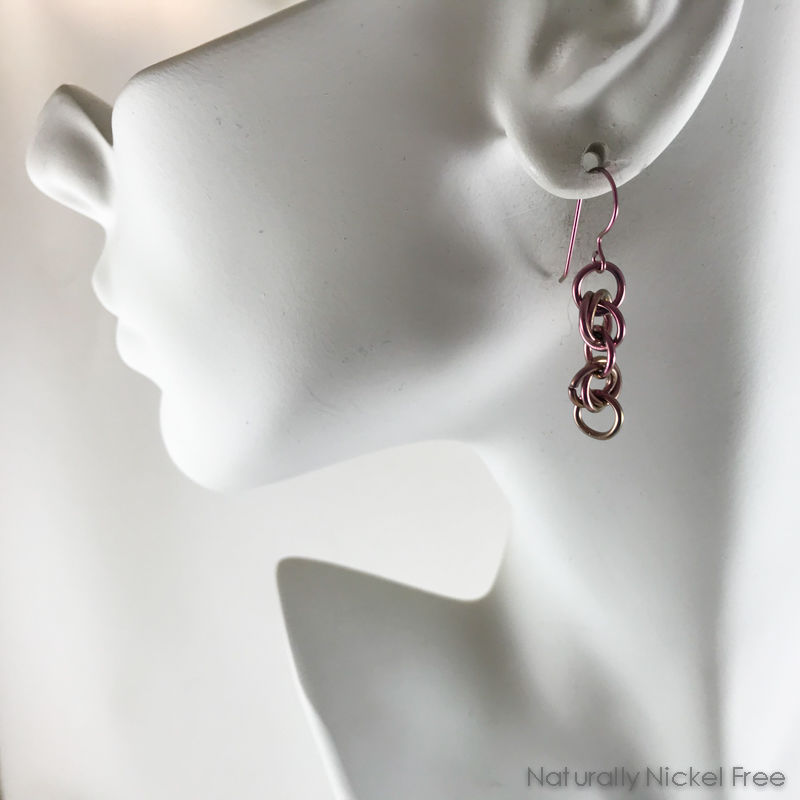 Anodized Niobium Chainmaille Dangle Earrings - product images  of