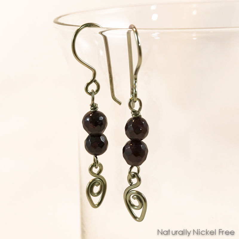 Garnet Niobium Earrings with Wire Teardrop - product images  of
