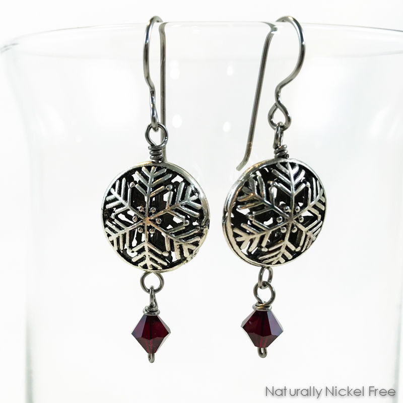 Snowflake Red Crystal Earrings - product image