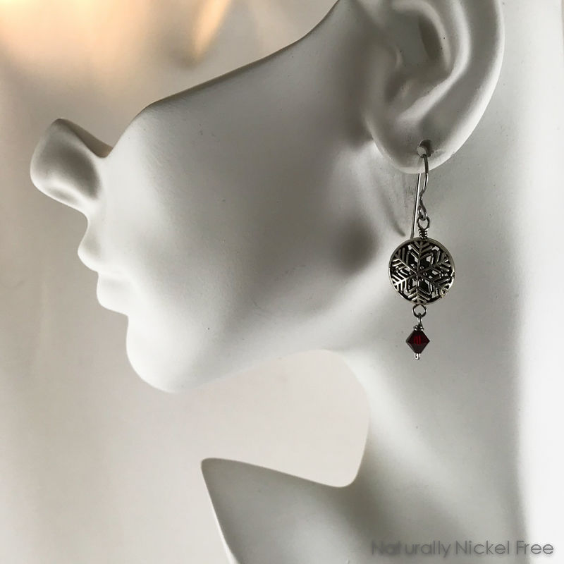 Snowflake Red Crystal Earrings - product images  of