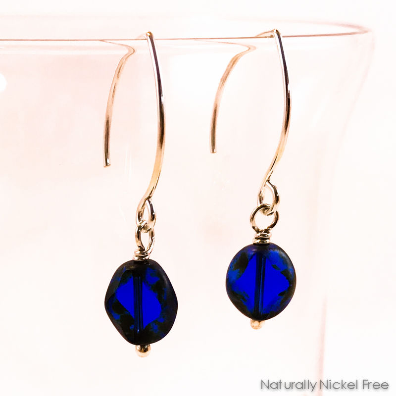 Blue Glass Argentium Sterling Silver Earrings - product image