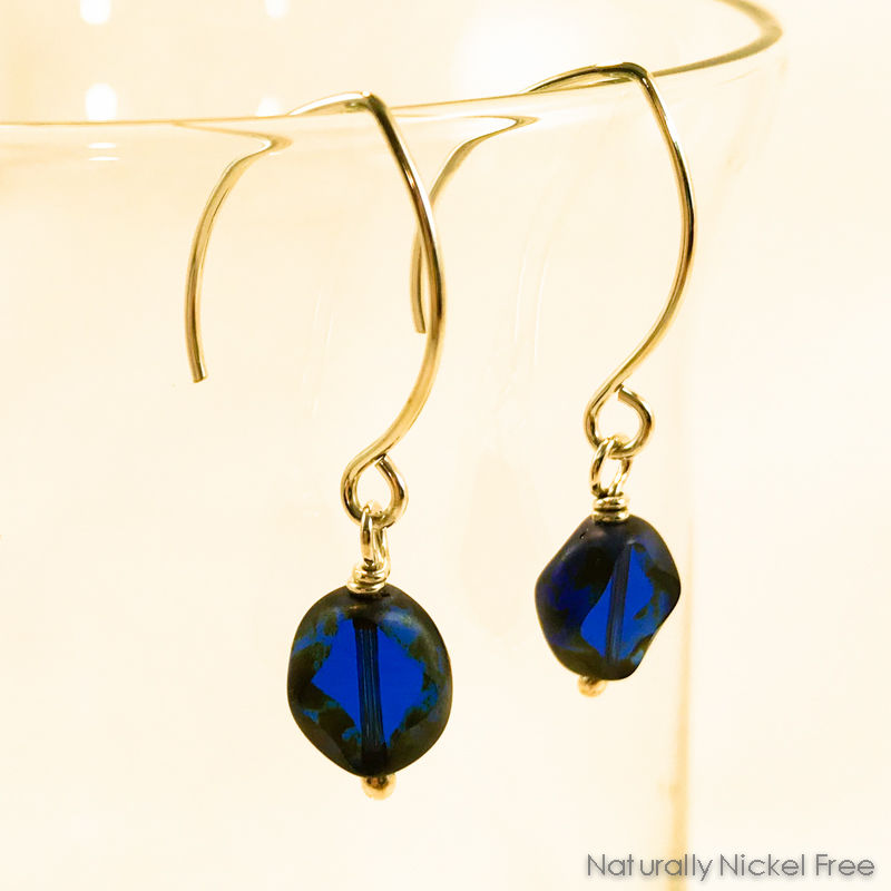 Blue Glass Argentium Sterling Silver Earrings - product images  of