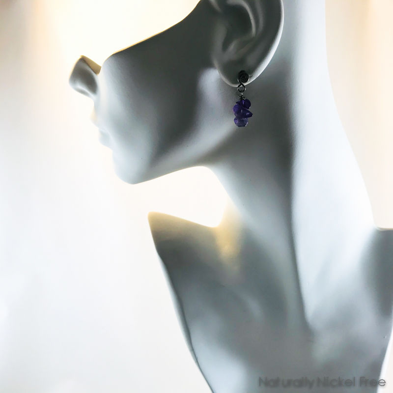 Amethyst Earrings with Niobium Spiral Posts - product images  of