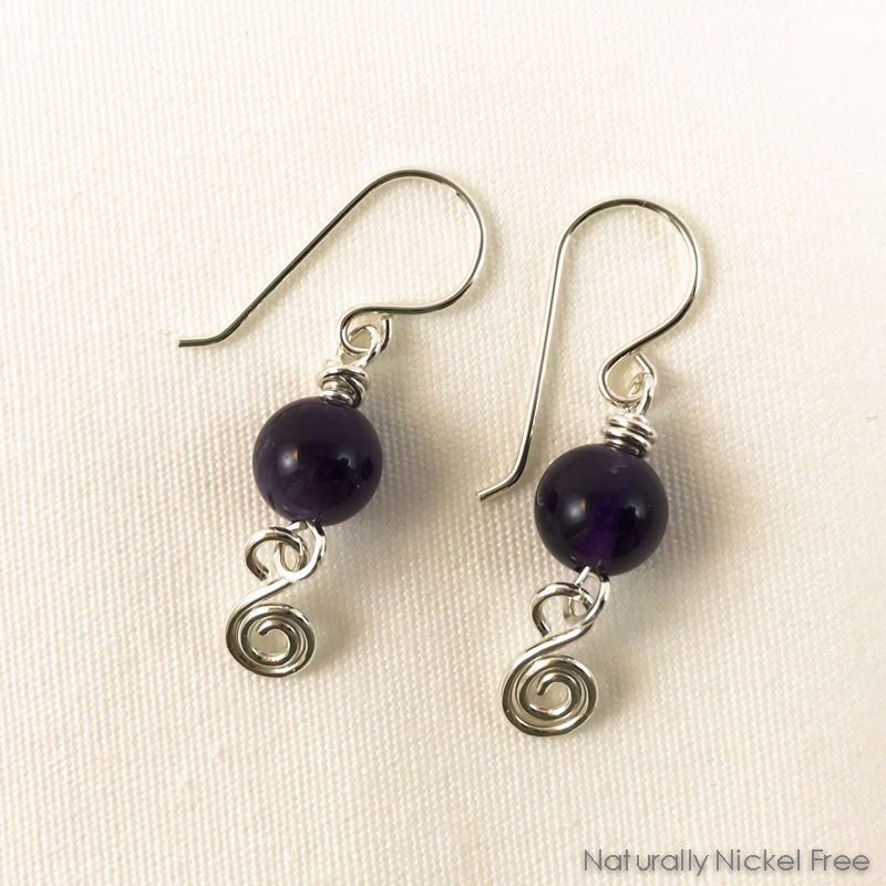 Amethyst Silver Dangle Earrings - product image