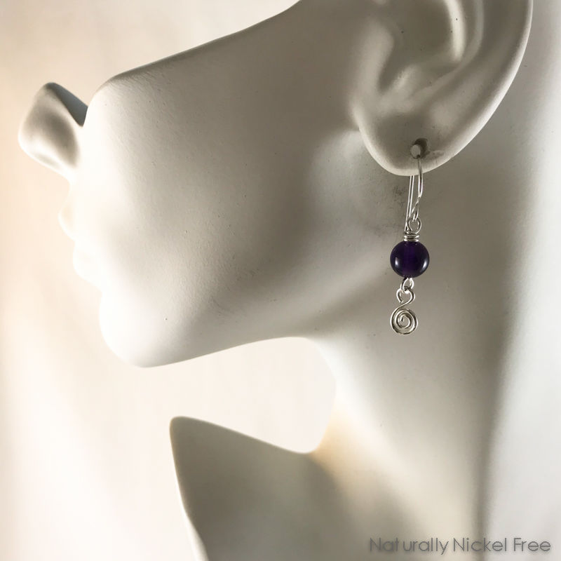 Amethyst Silver Dangle Earrings - product images  of