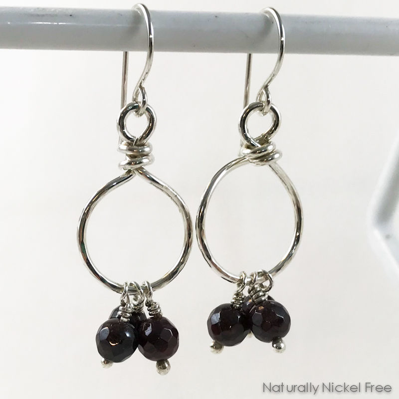 Garnet Bead Tassel Silver Loop Earrings - product image