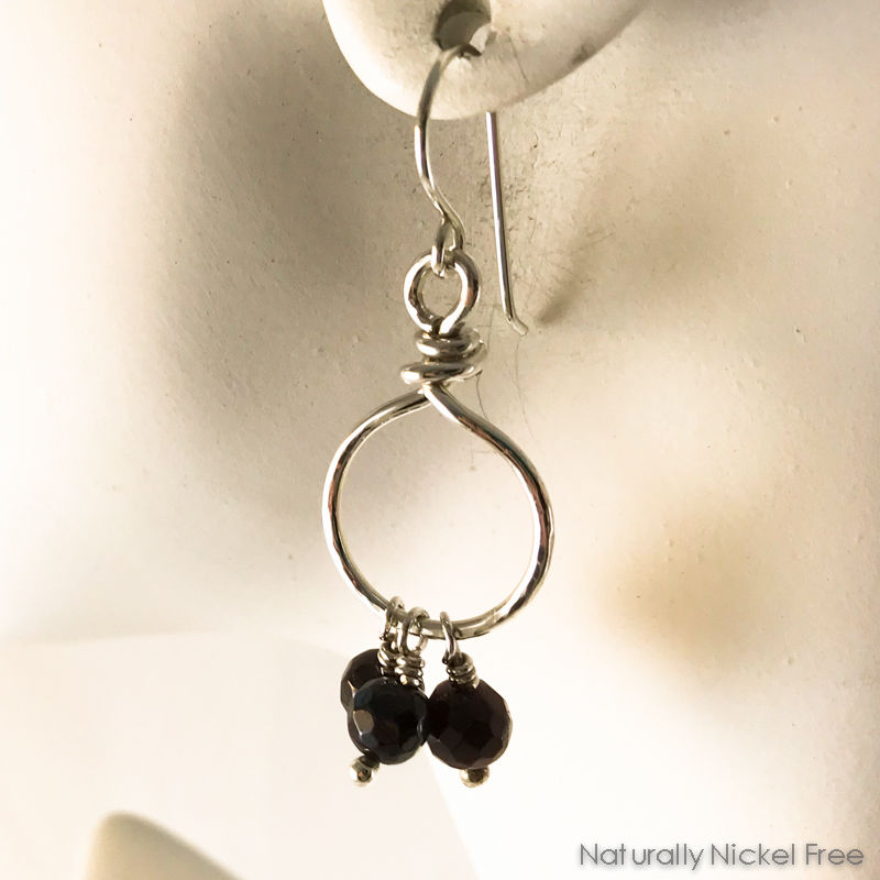 Garnet Bead Tassel Silver Loop Earrings - product images  of