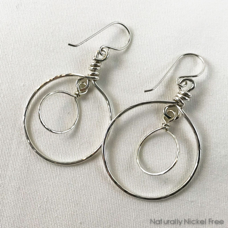 Argentium Sterling Silver Double Dangle Hoop Earrings - product image