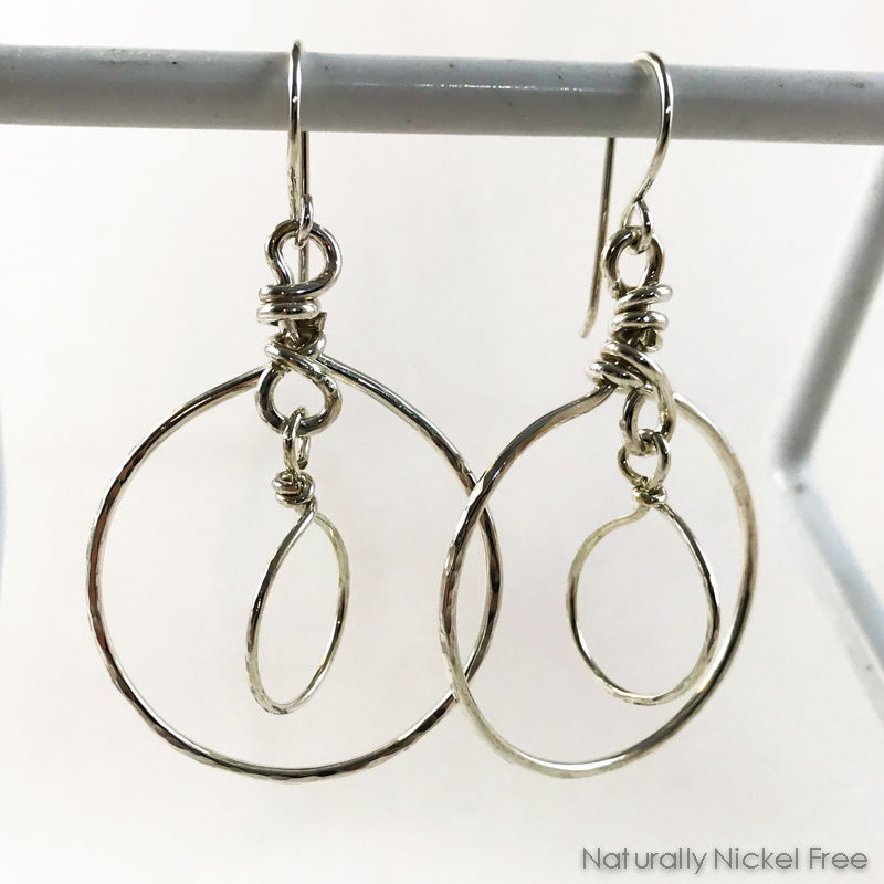 Argentium Sterling Silver Double Dangle Hoop Earrings - product images  of