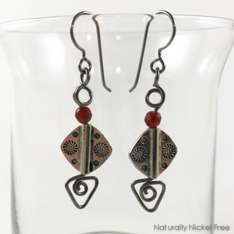 Etched Pewter Bead Earrings with Niobium Wirework - product image
