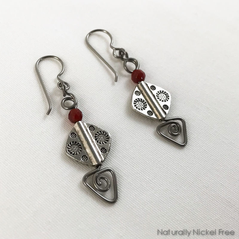 Etched Pewter Bead Earrings with Niobium Wirework - product images  of