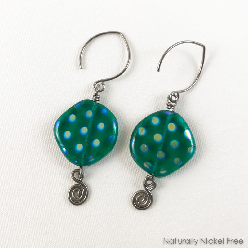 Turquoise Spotted Glass Bead Niobium Earrings - product image