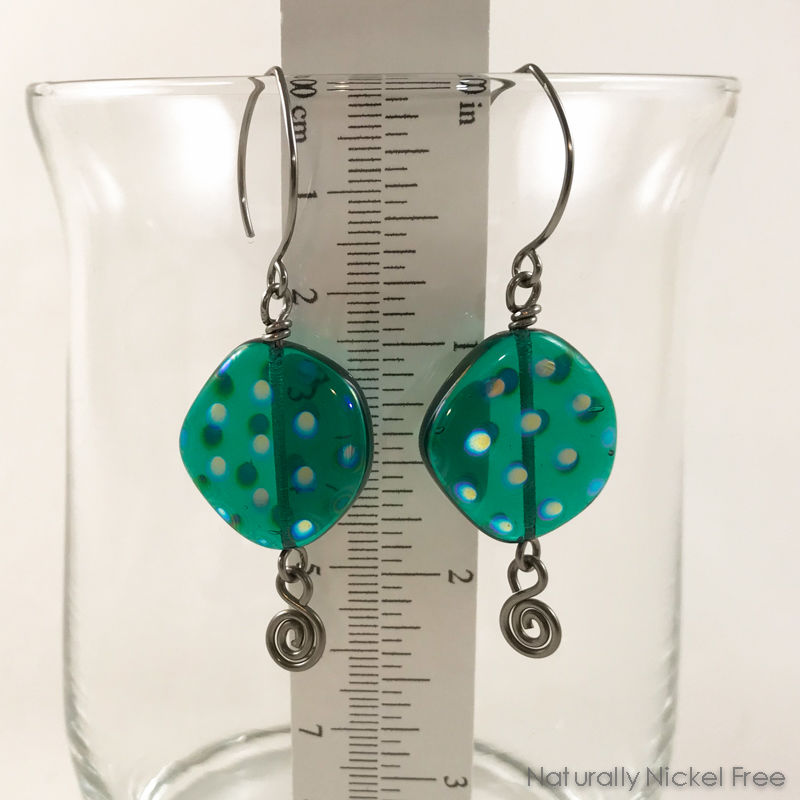 Turquoise Spotted Glass Bead Niobium Earrings - product images  of