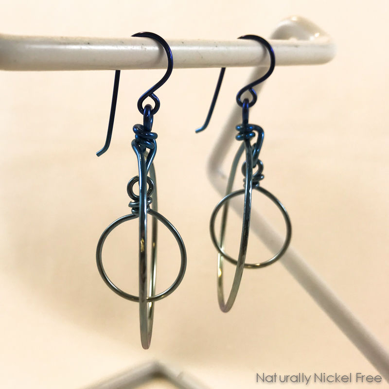 Blue Rainbow Double Hoop Niobium Dangle Earrings  - product images  of
