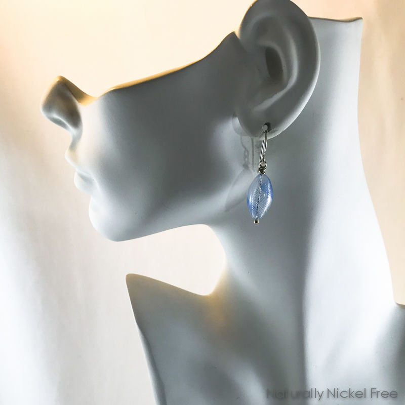 Light Blue Spiral Blown Glass Bead Earrings - product images  of