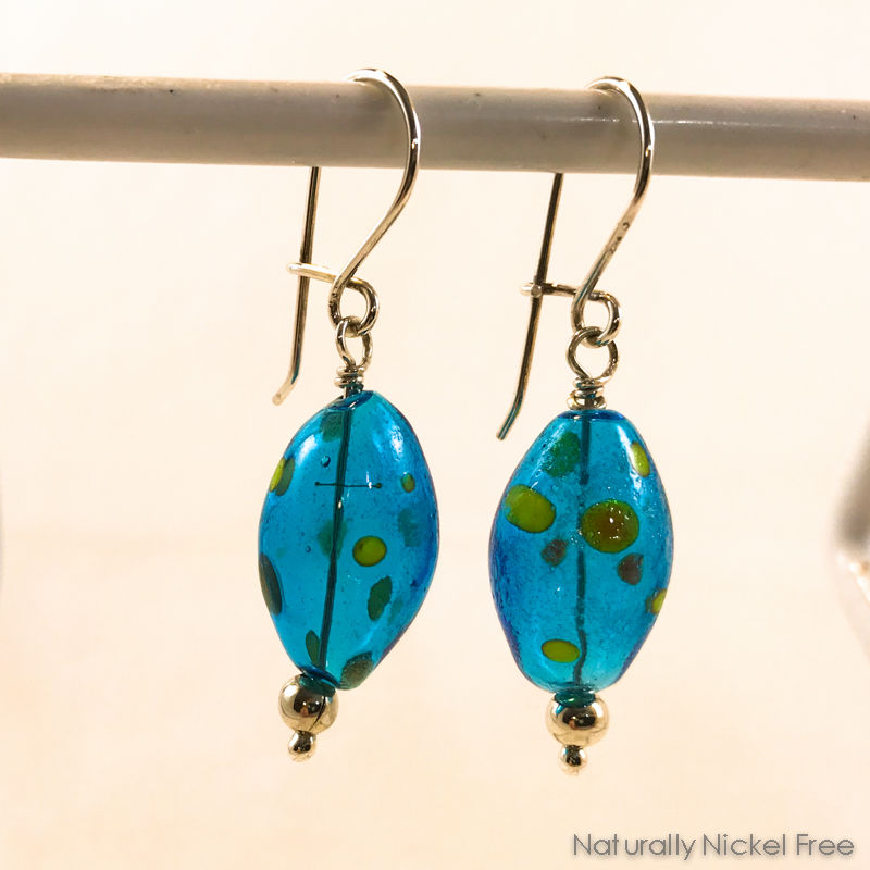 Bright Blue Polka Dot Blown Glass Bead Earrings - product images  of