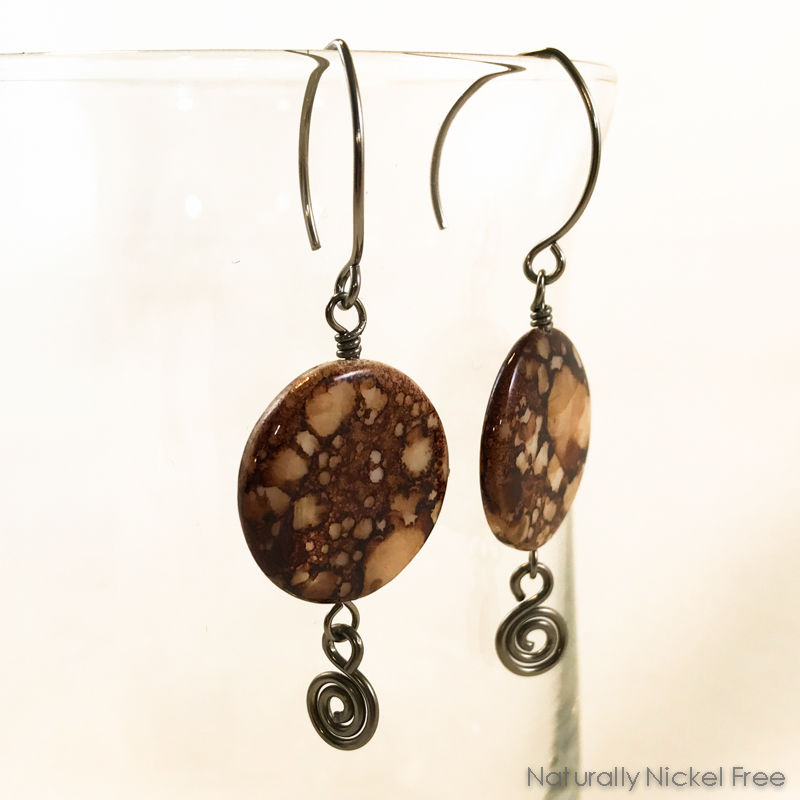 Brown Spot Shell Niobium Earrings - product images  of