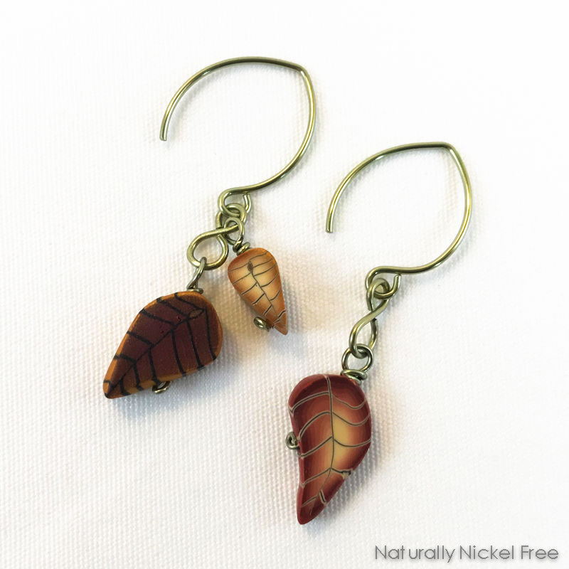 Falling Leaves Niobium Dangle Earrings - product images  of