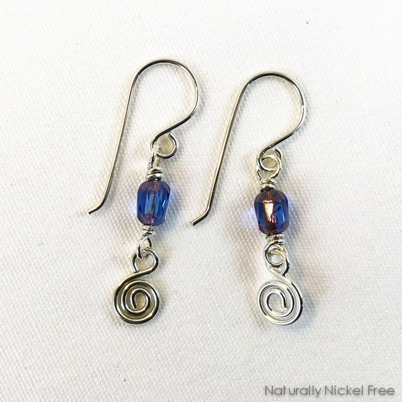 Lavender Glass Spiral Earrings - product image