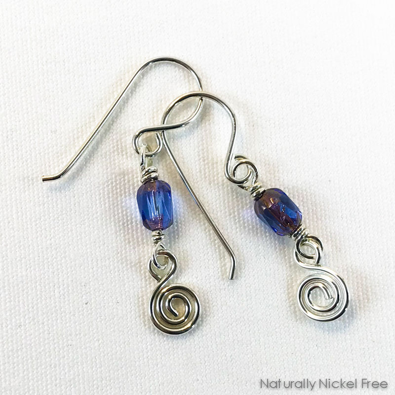 Lavender Glass Spiral Earrings - product images  of