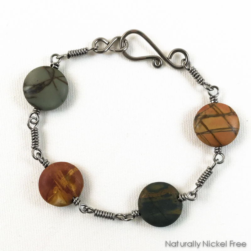 River Creek Jasper Bracelet with Niobium Coil Link Chain, 7.5 inch - product image