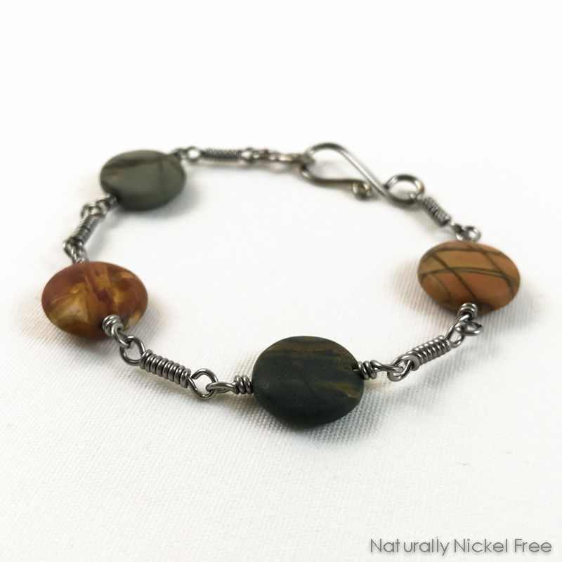 River Creek Jasper Bracelet with Niobium Coil Link Chain, 7.5 inch - product images  of