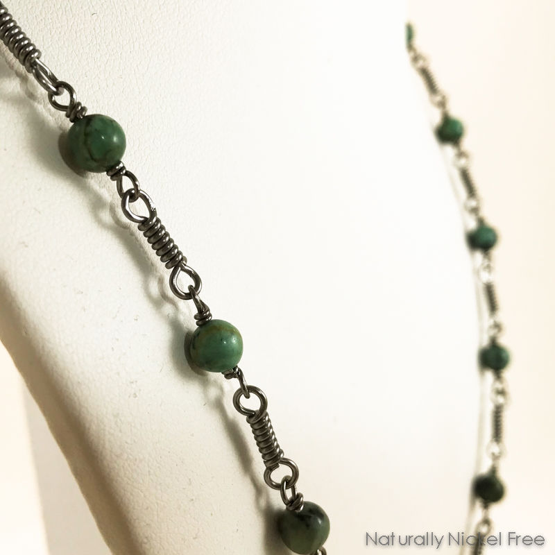 African Turquoise Niobium Chain Necklace, 24 inch - product images  of