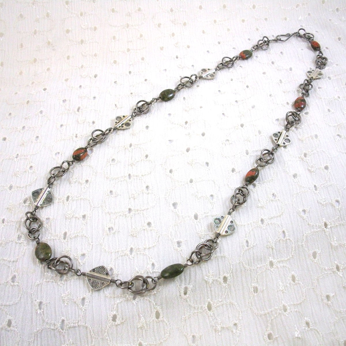 Unakite Necklace with Handmade Chain and Pewter Bead Accents - product images  of