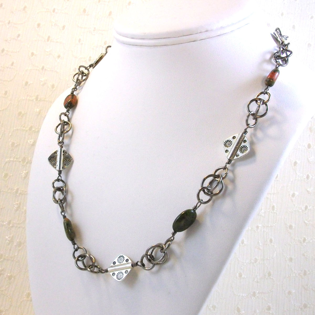 Unakite Necklace with Handmade Chain and Pewter Bead Accents - product image