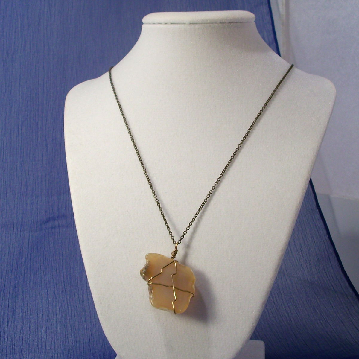 Rough Agate Necklace with Wire Wrap and Brass Chain - product image