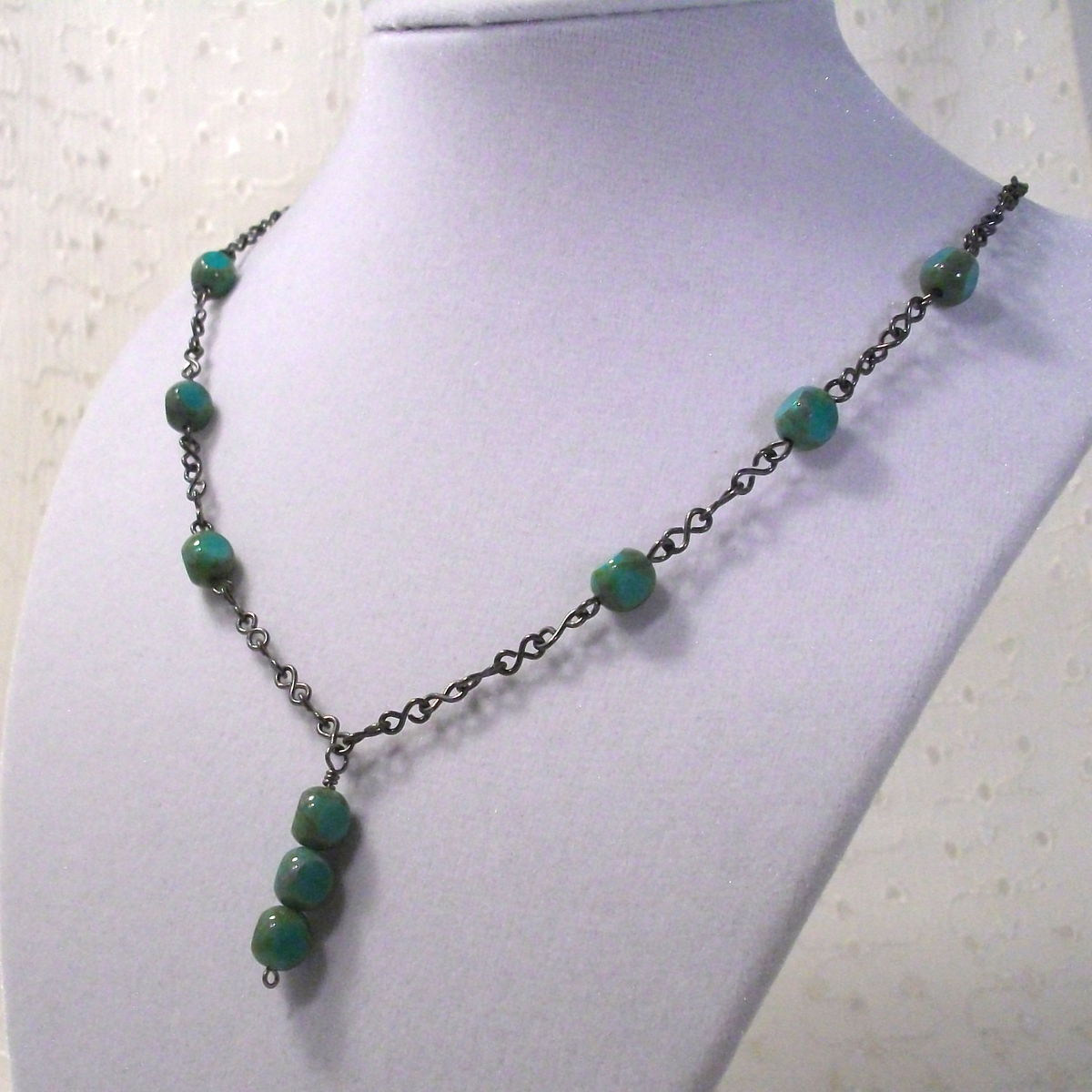 Turquoise Blue Czech Glass Bead Necklace - product image
