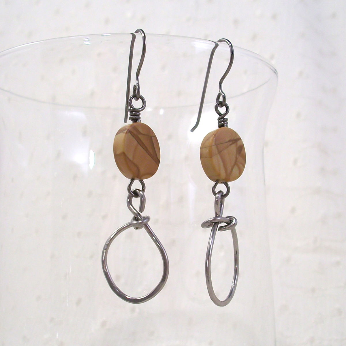 Banded Oak Agate Earrings with Oversized Niobium Wire Loop - product images  of