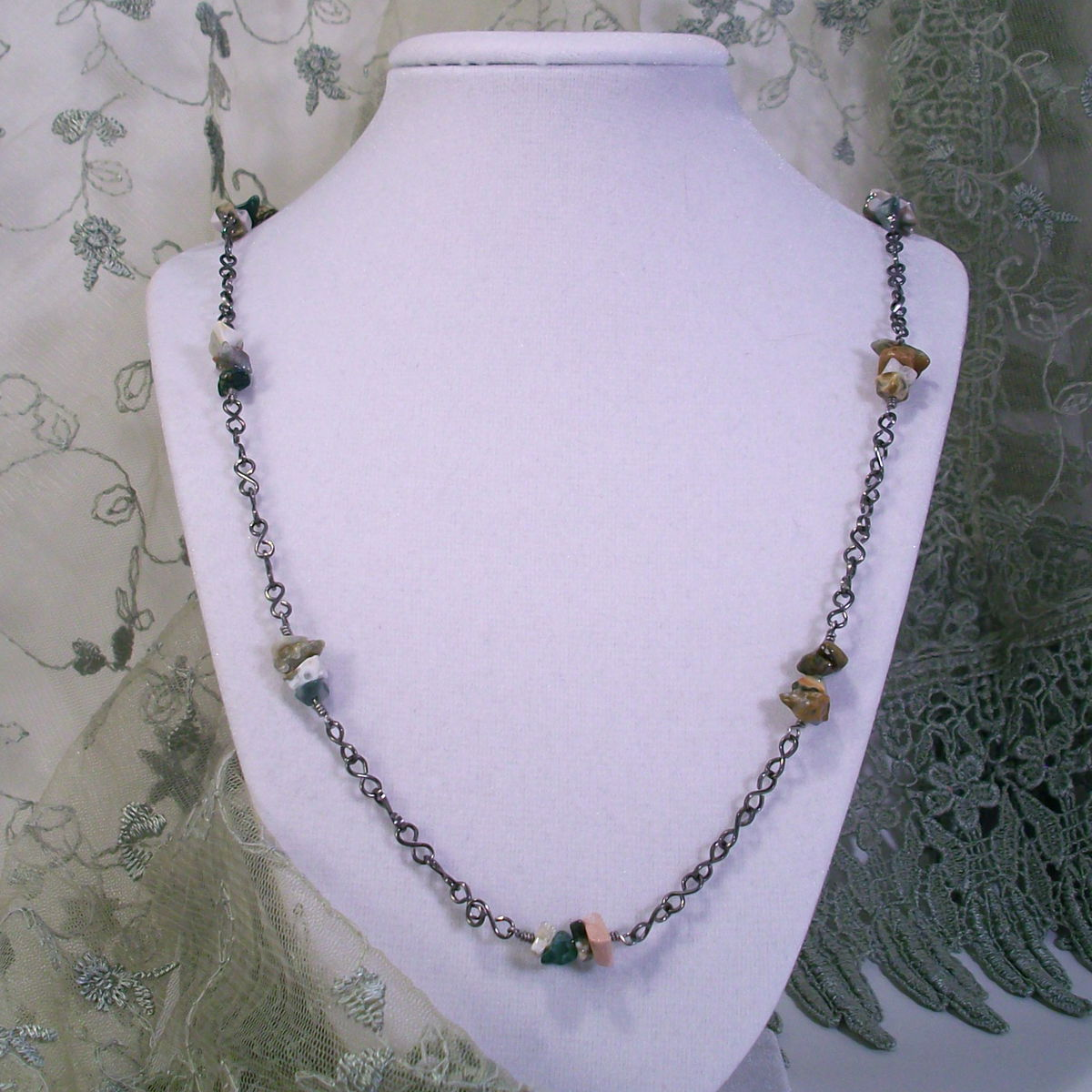 Ocean Jasper Necklace with Handmade Niobium Chain - product image