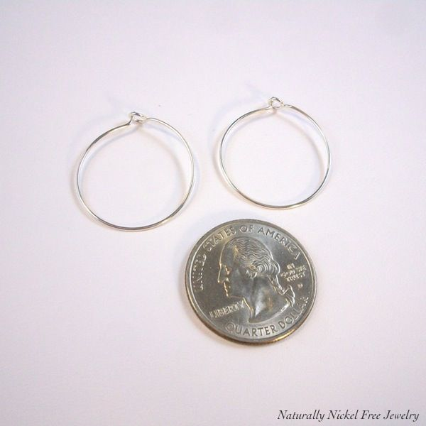 Argentium Sterling Silver Simple Hoop Earrings, 0.5 inch to 2 inch - product images  of