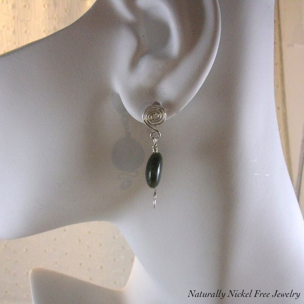 Canadian Jade Post Earrings Argentium Sterling Silver with Spiral Wave - product images  of